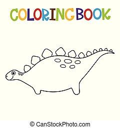 dino, mignon, livre coloration