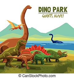 Dino Park Poster - Different flying swimming and land...