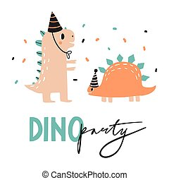 Dino party. Lovely vector illustration with funny dinosaur