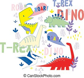 Dino pattern hand drawn illustration isolated on background...
