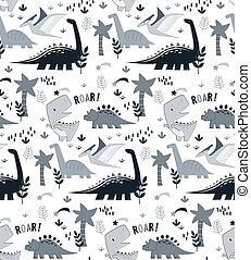Dino pattern seamless cartoon design. Kids playground...