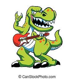 Dino rock plays a guitar. dinosaur cartoon.