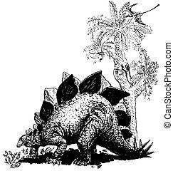 Dino Stegosaurus on the ground near the tree