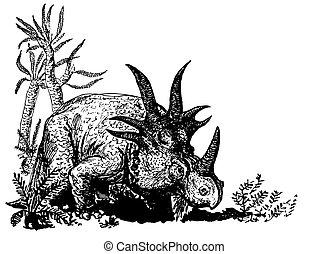 Dino Styracosaurus on the ground near the trees