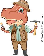 Dino Tyrannosaur Paleontologist - Dinosaur Illustration of a...