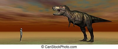 dino Tyrannosaurus and a man