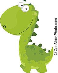 dino, uśmiechanie się, zielony