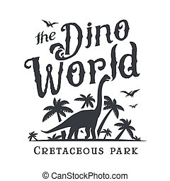 Dino world logo template. Dinosaur park logotype. Diplodoc t-shirt vector design. Jurassic period retro illustration. Lost world insignia concept. Adventure badge