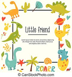 Dinos poster with bright characters and text