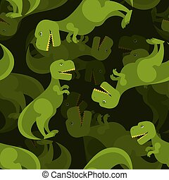 Dinosaur 3d background. Tyrannosaurus seamless pattern. Prehistoric predator ornament for baby tissue. T-Rex Lizard of Jurassic period.