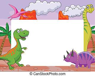 Dinosaur and blank sign