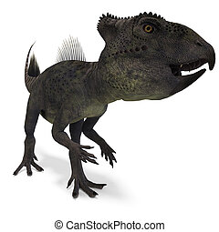 Dinosaur Archaeoceratops. 3D rendering with clipping path...