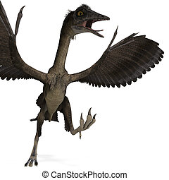 Dinosaur Archaeopteryx. 3D rendering with clipping path and ...