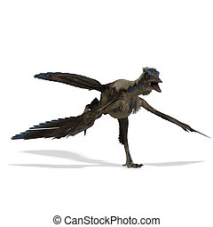 Dinosaur Archaeopteryx. 3D rendering with clipping path and...