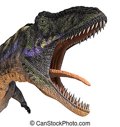 Dinosaur Aucasaurus with clipping path over white