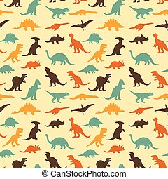 dinosaur baby pattern - vector set silhouettes of...