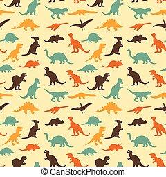 dinosaur baby pattern - vector set silhouettes of dinosaur, ...