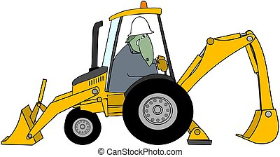 Dinosaur Backhoe Operator - This illustration depicts a...