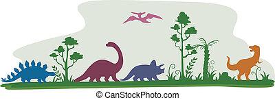 Dinosaur Border - Border Illustration Featuring the...