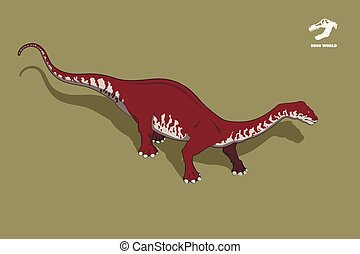 Dinosaur brontosaurus in isometric style. Isolated image of jurassic monster. Cartoon dino 3d icon