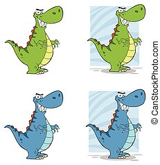 Dinosaur Cartoon Character. Collection - 2
