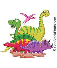 Dinosaur cartoon group isolated,