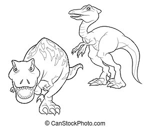 dinosaur cartoon lineart - velociraptor and tyrannosaurus...