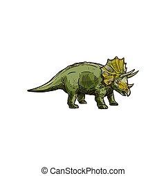 Dinosaur cartoon prehistoric horned animal