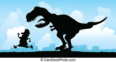 Cartoon silhouette of a man being chased by a vicious T Rex.