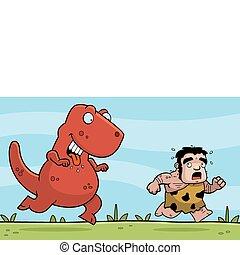 Dinosaur Chasing - A happy cartoon dinosaur chasing a...