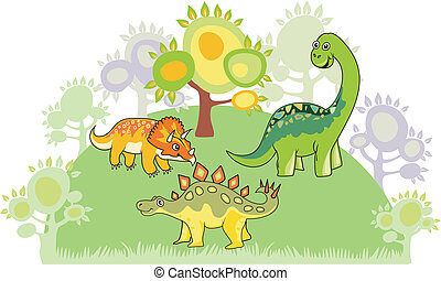 Dinosaur collection - Cartoon dinosaur collection. Colorful...