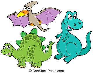Dinosaur collection on white background - isolated...