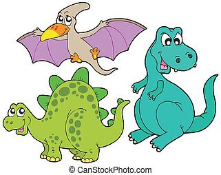 Dinosaur collection on white background - vector ...