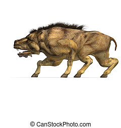 Dinosaur Daeodon Dinohyus. 3D rendering with clipping path ...