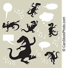 Dinosaur Dancing Silhouettes