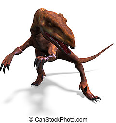Dinosaur Deinonychus. 3D rendering with clipping path and...