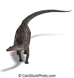 Dinosaur Dicraeosaurus. 3D rendering with clipping path and...