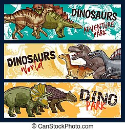 Dinosaur, dino and jurassic monster banners
