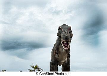 Dinosaur. - Dinosaur bearing down under stormy sky.
