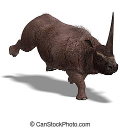 Dinosaur Elasmotherium.  3D rendering with clipping path and shadow over white