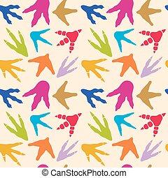 Dinosaur footprints vector seamless pattern