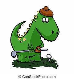 Dinosaur  golfer - funny dinosaur