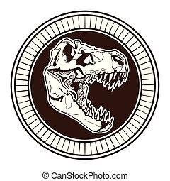 dinosaur head skeleton drawn tattoo icon