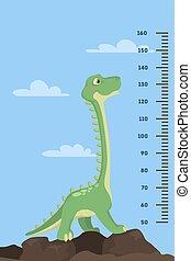 Dinosaur height chart for kids. Cartoon green dino.