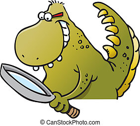 Dinosaur holding a magnifying glass