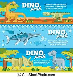 Dinosaur horizontal banners set in flat design style