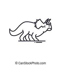 Dinosaur icon, linear isolated illustration, thin line vector, web design sign, outline concept symbol with editable stroke on white background.
