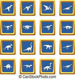 Dinosaur icons set blue