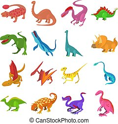 Dinosaur icons set, cartoon style
