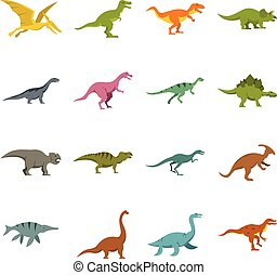 Dinosaur icons set in flat style